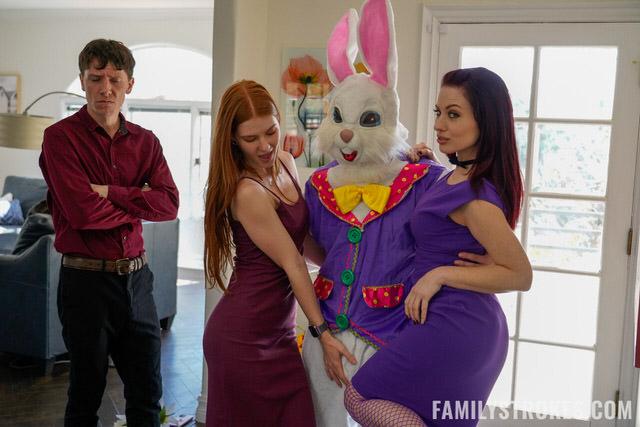 Threesome Easter Bunny Sucks Busty Huge boobs
