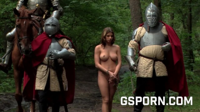 Girl sex with knights in forest