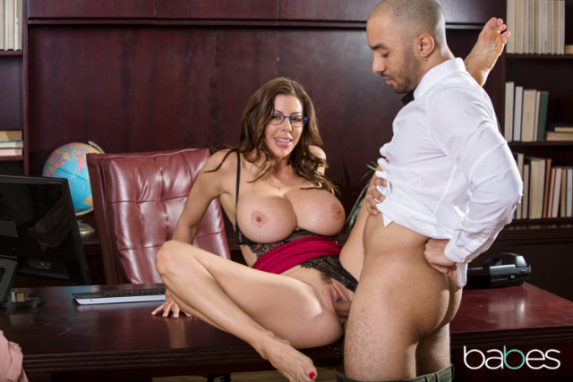 Employee SEX with horny big tits MILF